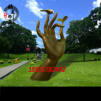 Creative Stainless Steel Palm Sculpture Park Square Abstract Garden Ornaments
