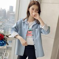 bf风牛仔衬衫女长袖2018春装新款韩版宽松绑带拼接衬衣女口袋拼皮