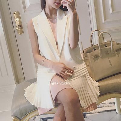 春秋chic无袖百褶雪纺白色西装马甲女中长款背心外套韩版百搭显瘦