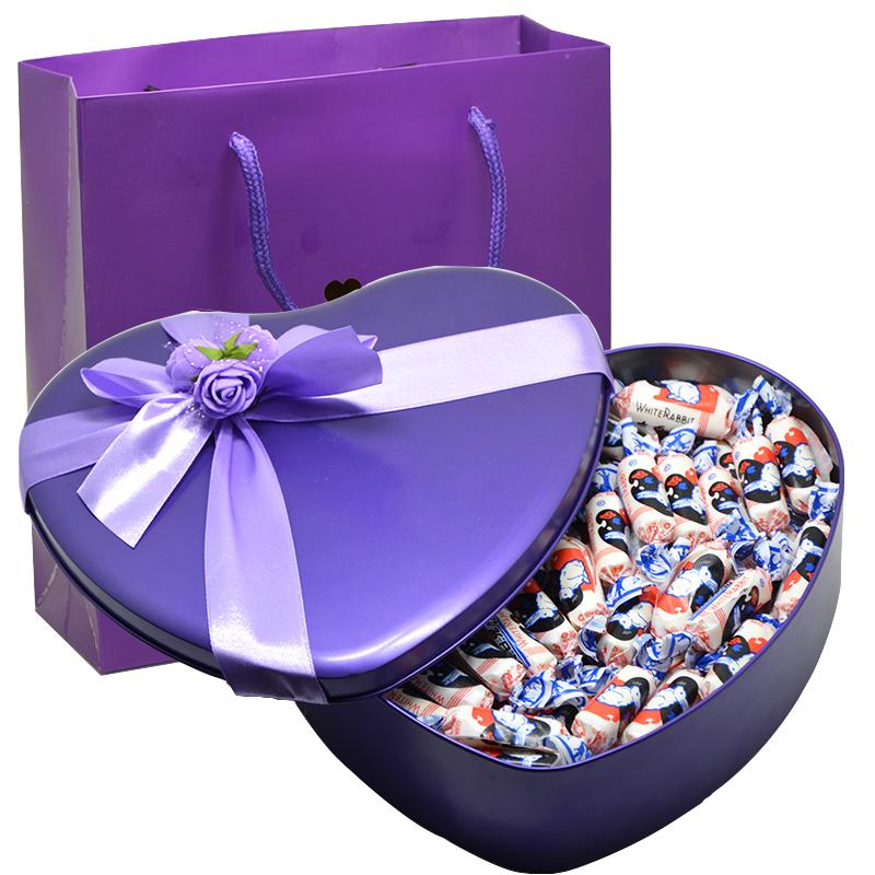 大白兔奶糖心形礼盒装糖果零食生日礼物七夕情人节礼品送朋友礼