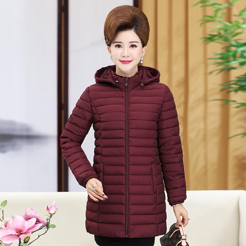 轻薄羽绒棉服 冬装 棉袄中年人加厚外套妈妈装 棉衣中长款 中老年女装