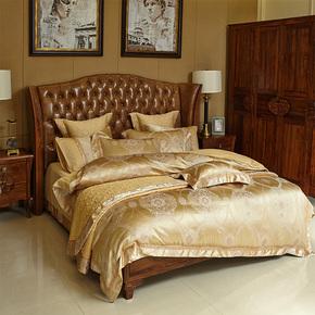 清悠居家纺 高档欧式金色床上用品十件套 别墅软装展示床品多件套