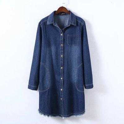 外贸加肥加大码女装200斤胖MM韩版中长款毛边长袖牛仔衬衫裙外套