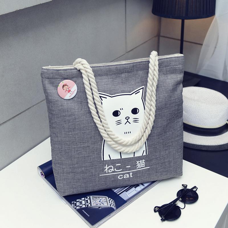 帆布包布袋女文艺韩版学生大容量简约森系chic麻绳手提单肩包女包