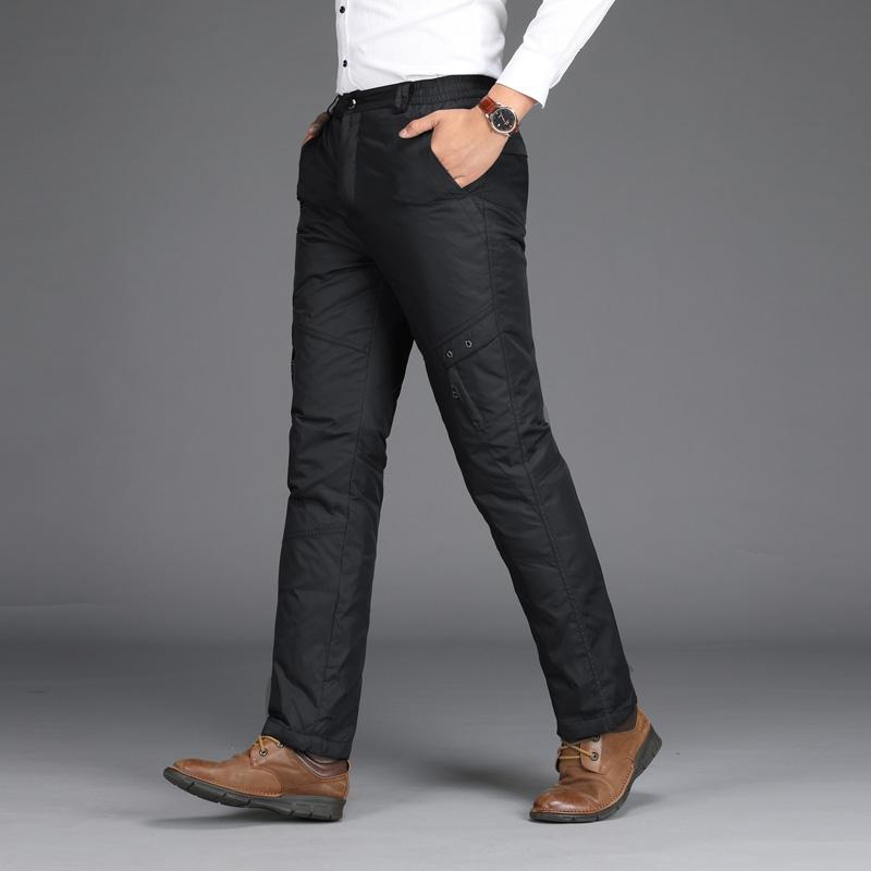 冬季新款羽绒裤男外穿商务休闲款松紧腰直筒裤大码加厚长裤