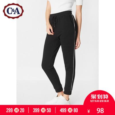 C&A女装毛圈棉束脚针织运动裤 松紧腰休闲长裤CA200208733-M0