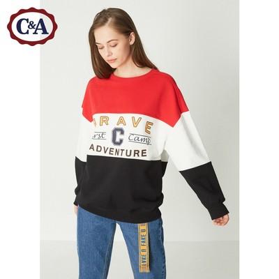 C&A复古撞色Oversize加绒卫衣女 冬季针织情侣款上衣CA200212140
