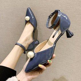 高跟鞋女2019春季新款水钻珍珠浅口女鞋尖头一字带凉鞋细跟女单鞋