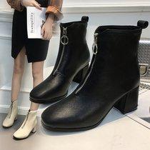 新款鞋女粗跟方头浅口春秋鞋子淑女韩版低跟学生四季鞋