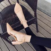 Shoes female 2018 new female winter single shoes thick with pointed women's shoes strap high heels female shallow mouth wild female sandals