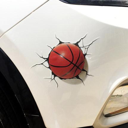 棒球汽车贴纸创意3D立体仿真篮球车身贴遮挡划痕个性橄榄球防水贴