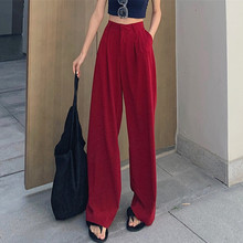 Wine-red broad-legged pants with high waist sag feeling in summer, loose and full-bodied feeling, floor-dragging trousers, straight casual Chiffon pants