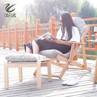 泽凡诺 榉木折叠躺椅办公室午休午睡床 阳台布艺懒人沙发椅逍遥椅