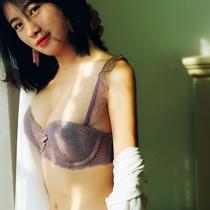 夏季超薄款文胸套装姓感蕾丝全透明透气舒适内衣睡眠胸罩大码薄款