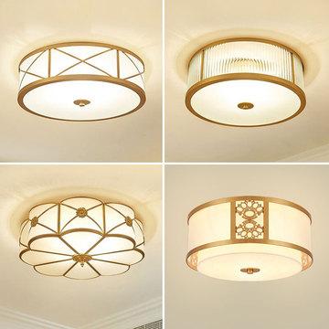美式全铜吸顶灯欧式家用小卧室灯次卧矮户型简美风格入户玄关灯