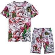 海边度假男款民族风花鸟牡丹印花半袖T恤沙滩运动短裤套装大码潮