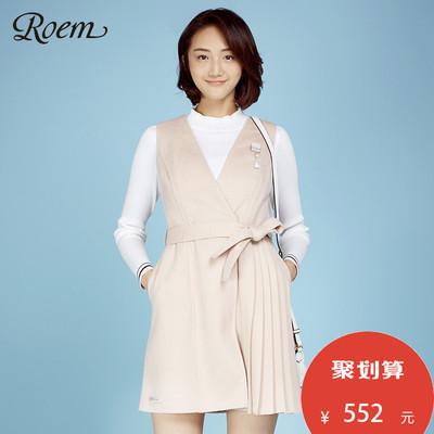 ROEM洛妍女装甜美不对称百褶无袖纯色裙摆毛呢外套RCJW71102L
