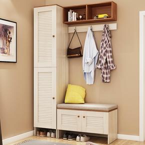 现代简约进门鞋柜多功能门厅柜带换鞋凳北欧壁柜衣帽架组合柜子