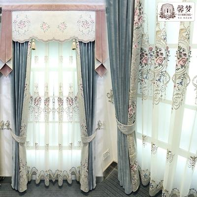 馨梦欧式豪华客厅窗帘绣花奢华大气丝绒布卧室遮光窗纱帘成品定制