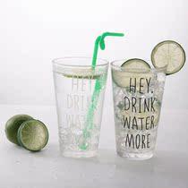 韩国简约小清新玻璃水杯透明学生英文字母水杯早餐杯果汁店专用杯