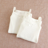 2 pieces of white non-fluorescent children's slings baby cotton hollowed out mesh sleeveless bottoming pajamas