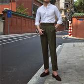 意式高定风轻熟直筒裤 日常商务休闲绿色高腰十分裤 鹿三先生男士