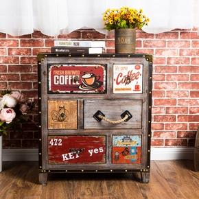美式乡村床头柜实木玄关柜复古柜子做旧斗柜储物收纳仿古装饰柜