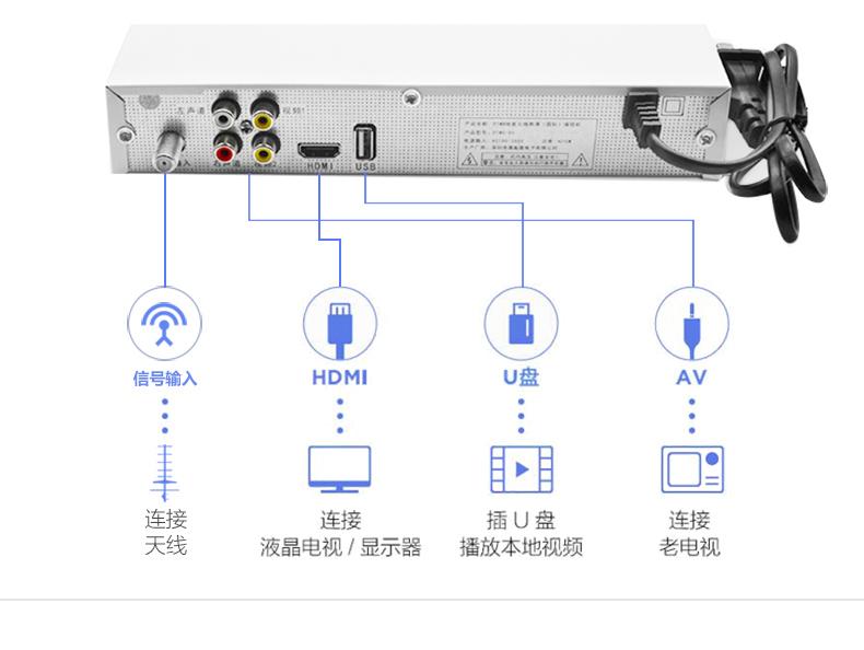 高清地面波机顶盒全套数字电视天线农村家通用DTMB无线信号接收器