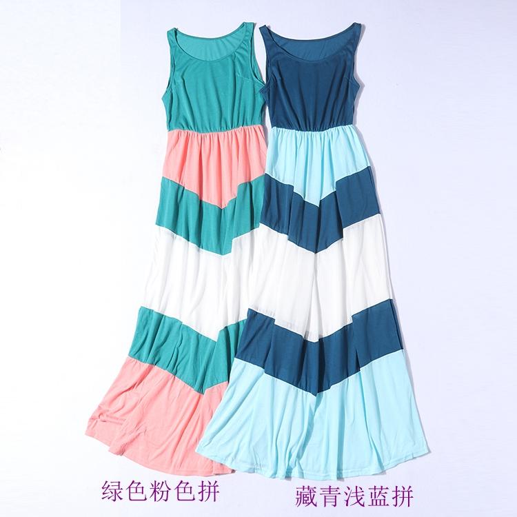 H27-3夏新品女针织弹力撞色彩色条纹拼接长裙无袖沙滩裙连衣裙
