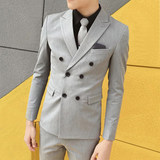 Small suit men's suit wedding dress double-breasted three-piece set is decorated body Korean handsome best man hair stylist