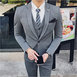 Professional business casual suit outside suit to work men Korean version handsome British wind dress groom suit spring and summer