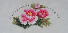 牡丹画 国画 客厅装饰画 手绘 真迹 扇面 茶楼装饰画 家居饰品