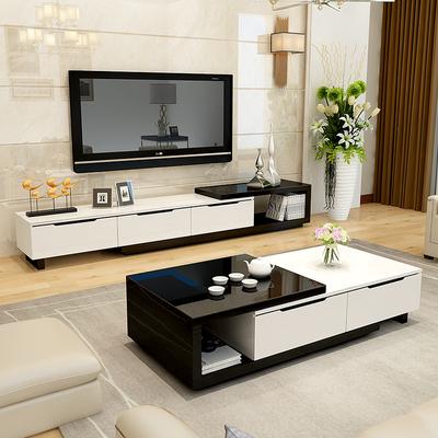 客厅电视柜茶几组合套装现代简约烤漆卧室伸缩背景柜电视机柜地柜