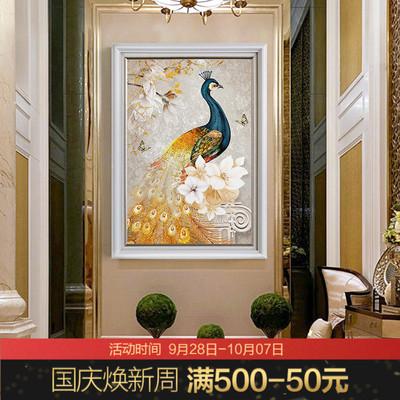 玄关装饰画竖版3d立体客厅入户过道美式挂画餐厅楼梯走廊墙面壁画