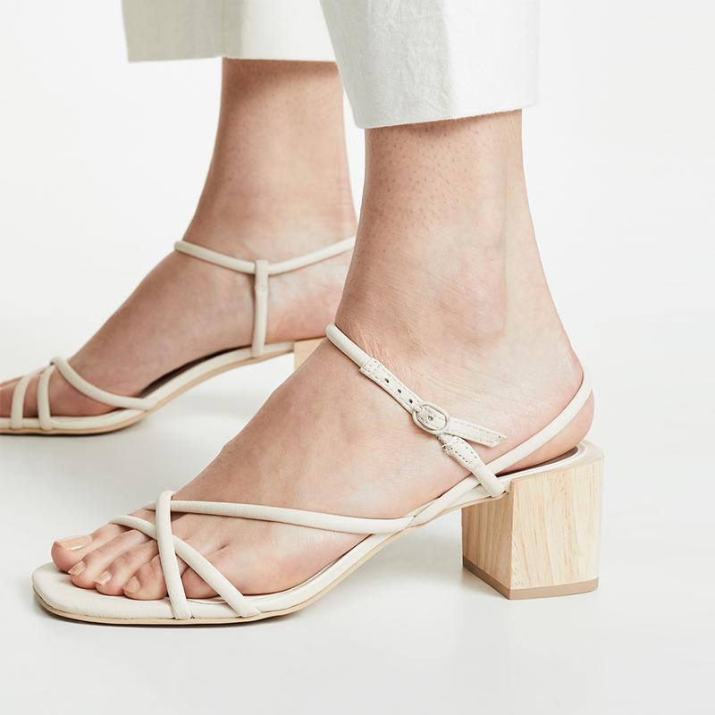 细带凉鞋女中跟粗跟罗马鞋2019夏季新款镂空简约百搭一字带高跟鞋