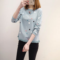 Long-sleeved T-shirt Spring Blouse New Chic Korean Loose Bottom Blouse for Female Students in the Opening Season