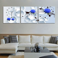 Special offer creative home modern living room decoration table mural painting art frameless painting wall clock mute