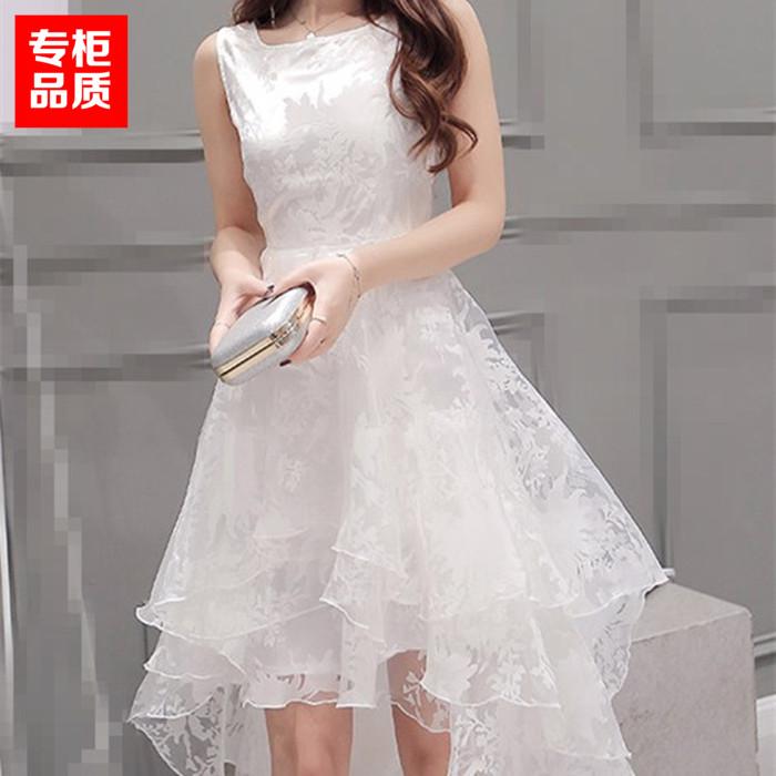 公主裙成人欧根纱礼服夏白色甜美韩版蓬蓬裙燕尾裙前短后长连衣裙