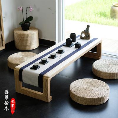 日式榻榻米茶几老榆木飘窗桌炕桌新中式禅意实木茶几茶室禅修矮桌