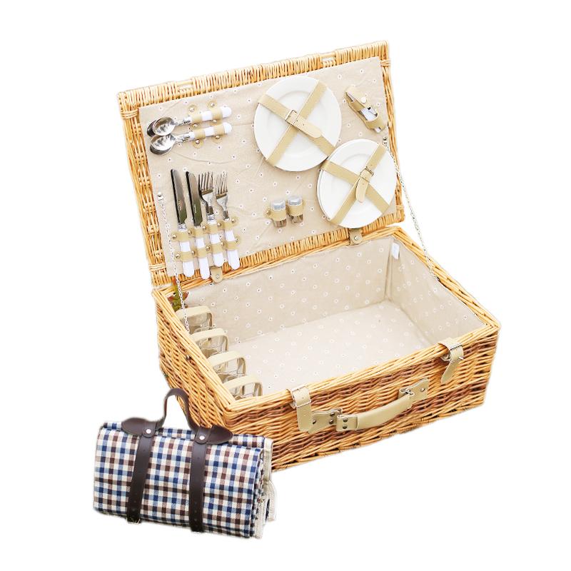 野餐篮藤编手提户外保温野营食物收纳篮子双人四人柳编野餐箱带盖