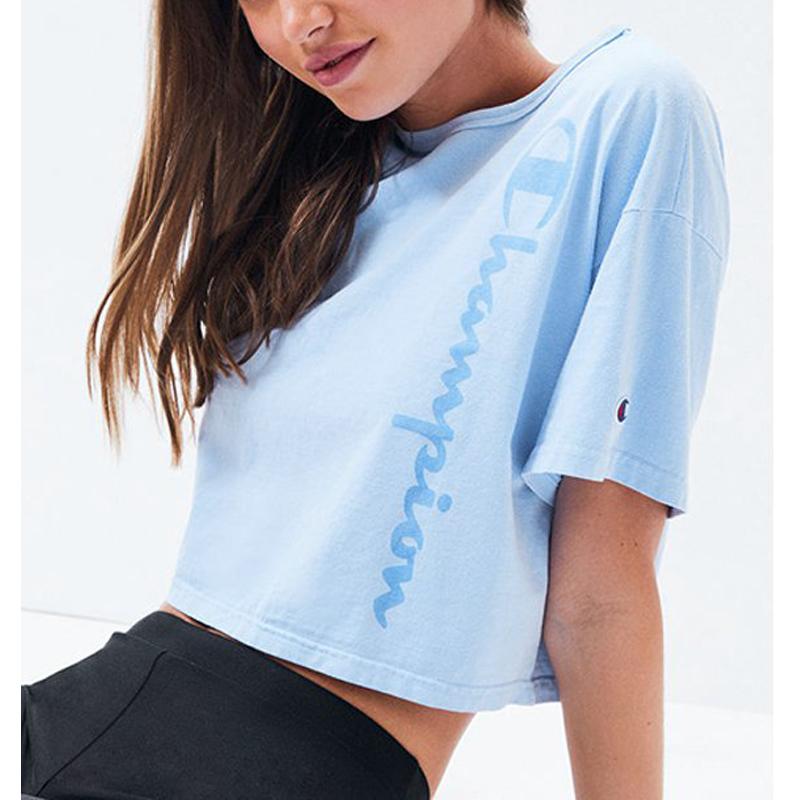 CHAMPION2019新款美版女士短款潮流宽松上衣纯色休闲圆领短袖T恤