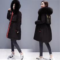棉服女中长款2018新款冬季保暖大码胖mm收腰刺绣羽绒棉派克服风衣