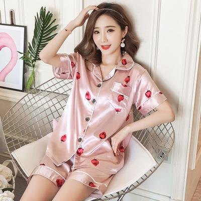 睡衣女夏季性感短袖套装两件套夏天韩版薄款冰丝绸家居服可爱大码