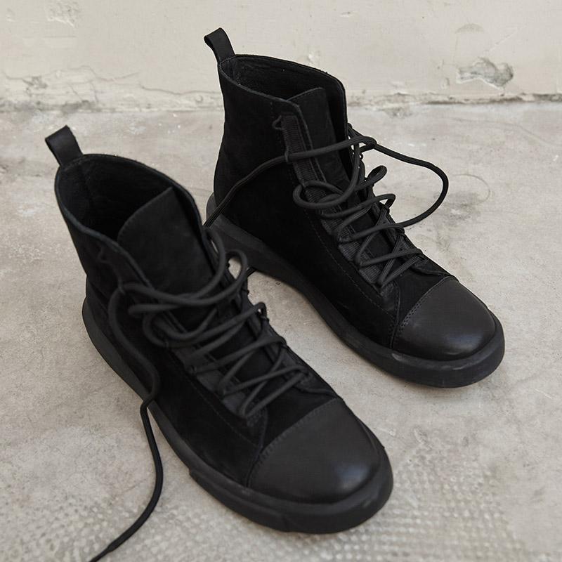 黑色真皮短靴平底