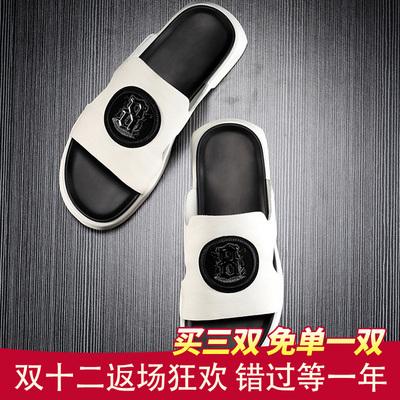 潮牌拖鞋男夏时尚外穿韩版潮流男士凉拖鞋夏季防滑真皮一字拖室外