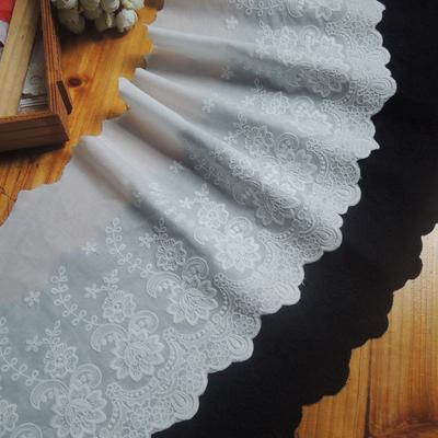 棉布花边纯棉蕾丝边黑色衣服辅料装饰裙边窗帘diy手工材料宽21cm