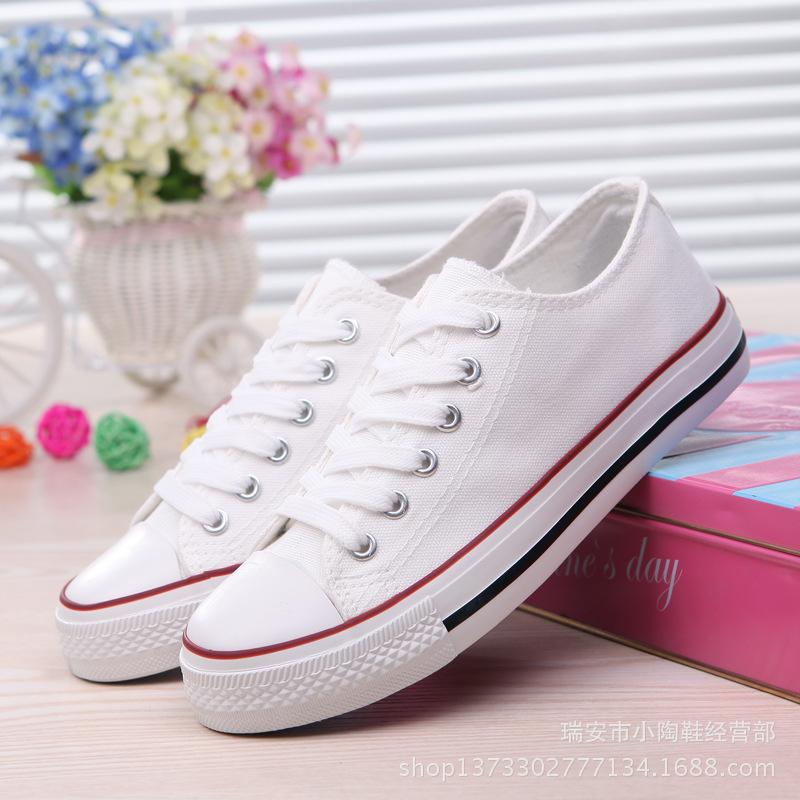 富步帆布鞋款低帮浅口女鞋学生板鞋军训