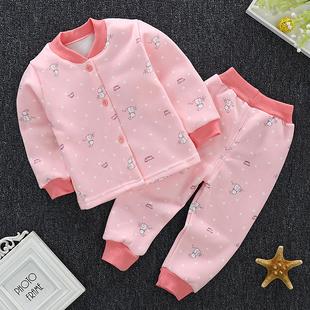 婴幼儿童套装纯棉保暖内衣加绒加厚男女宝宝秋衣秋裤前开衫家居服