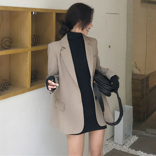 韩版气质chic风简约中长款小西装潮春季女装新款宽松翻领外套上衣