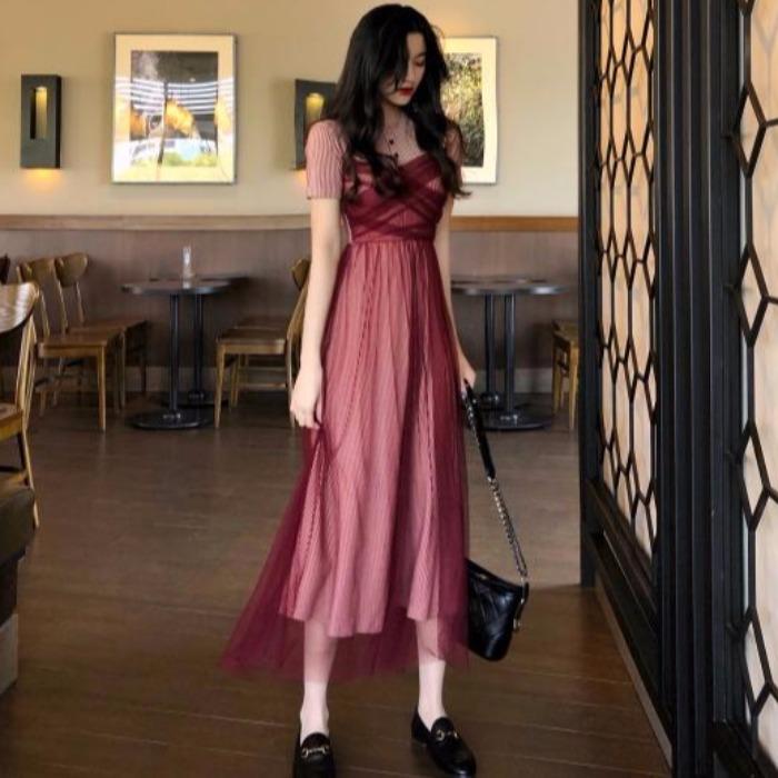夏季新款圆领条纹针织拼接网纱A字连衣裙复古修身高腰气质中长裙